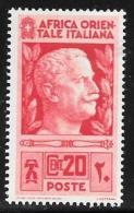 Italian Eastern Africa, Scott #6 Mint Hinged Victor Emmanuel Lll, 1938 - Italian Eastern Africa