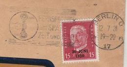 1930 GERMANY COVER SLOGAN Illus TELEPHONE Franked 30 Juni 1930 Ovpt Stamps Telecom - Telecom
