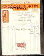 Facture Timbre Fiscal Ernest MULET Et Cie MONTLUCON Chocolat FORTIN Epicerie Et Confiserie En Gros 1941 - Alimentare