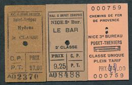 FRANCE QPA52 CF Provence 3 Billets Saint Tropez Nice Le Bar Puget-Theniers Hyeres - Chemins De Fer