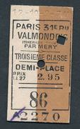 FRANCE QPA59 3rd Cl Paris 31e Bu - Valmondois  12-10-9--7M - Spoorwegen