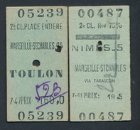 FRANCE QPA60 SNCF 2 Billets Nimes 1942 Marseille St Charles 1953 - Spoorwegen