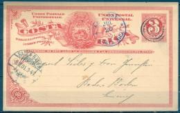 COSTA RICA , 1901 , ENTERO POSTAL CIRCULADO ENTRE SAN JOSÉ Y BADEN BADEN , LLEGADA - Costa Rica