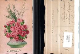 527663,handgemachte Material AK Rosen Blumen Geklebt - Ansichtskarten