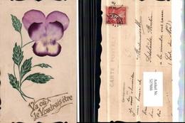 527666,handgemachte Material AK Veilchen Blume Vergissmeinnicht - Ansichtskarten