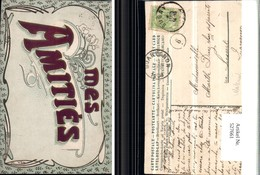 527661,tolle Material AK Seiden Applikation Mes Amities - Ansichtskarten