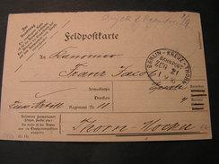 Berlin - Kreuz - Thorn ,  Karte  1916  Feldpost  Bahnpost - Germany