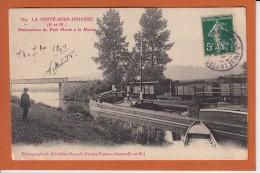 LA FERTE SOUS JOUARRE Embouchure Du Petit Morin A La Marne  Num 384 CPA   PENICHE + TRAIN   ANIMEE Le 14 9 1907 - La Ferte Sous Jouarre