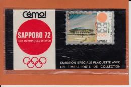 """Jeux Olympiques SAPPORO 72   Timbre Y.A.R. Sur Plaquette De Collection """" Emission Speciale  CEMOI """" - Werbung"""