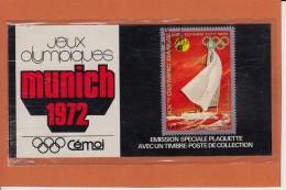 """Jeux Olympiques MUNICH  72   Timbre Y.A.R. Sur Plaquette De Collection """" Emission Speciale  CEMOI """" - Advertising"""