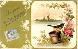 [DC3352] CPA - UCCELLINO SU VASO CON FIORI - IN RILIEVO - Viaggiata 1906 - Old Postcard - Uccelli