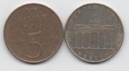 Allemagne De L'Est RDA DDR : Lot De 2 Pièces 5 Mark 1969 & 1971 - [ 6] 1949-1990 : RDA - Rép. Démo. Allemande