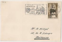 FLAMME  BENFELD Bas Rhin 1961 Sur DEVANT DE LETTRE. - Postmark Collection (Covers)