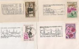 Quatre Flammes ERSTEIN Bas Rhin Sur 2 DEVANTS Et 2 ENVELOPPES. - Postmark Collection (Covers)