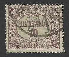 Hungary,  10 K. 1923, Sc # O10, Mi # 16, Used. - Officials