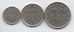 Belgique : Série De 3 Monnaies De Nécessité En Flamand : GOED VOOR 50 Cen - 1F - 2F 1923-1929 - Non Classés