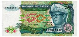 ZAIRE 50 ZAIRES 1988 Pick 32 AUnc - Zaire