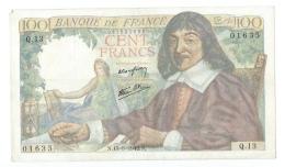 100 FRANCS DESCARTES 1942-1944 15/05/1942 TB (trou épingle) - 1871-1952 Antiguos Francos Circulantes En El XX Siglo