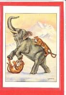 Illustrateur MUSTACCHI Cpm Animée Elephant Tigre - Éléphants