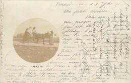 ATTELAGE AVEC UN ÂNE - Carte Photo Envoyée En 1901 De Larche (corrèze) - Anes