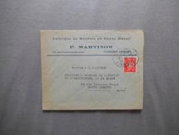 CHAUNY 20-12-41 ENVELOPPE P.MARTINOV FABRIQUE DE MEUBLES 63 RUE FERDINAND-BUISSON - Postmark Collection (Covers)