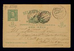 D.Charles 1898 Entier Postal Stationery ESTARREJA Ovar OLIVEIRA DE AZEMEIS Portugal Gc2578