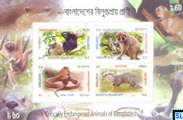 Bangladesh Stamps 2013, Critically Endangered Animals, MS - Bangladesh
