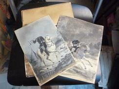 Curiosa 4 Peintures Cavaliers Armée Napoléon Sans Tête Commande Particulière - Aquarel