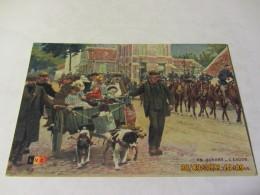 """Cpa EN GUERRE  -l'Exode - """"famille Belge  Avec Charette Tirée Par Des Chiens"""" - Guerre 1914-18"""