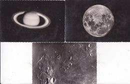 Be - Lot De 3 Cpsm De Saturne Et De La Lune - Observatoire Du Pic Du Midi - Bagnères De Bigorre - Sterrenkunde