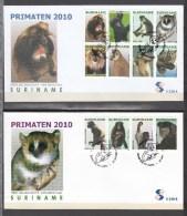 Suriname Surinam 2010,12V On 2 FDC,primaten,monkey,aap,affe,singe,mono,scimmia(L2655) - Apen