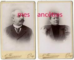 2 CDV En 1898- Monsieur Et Madame BOURRET-souvenir De Briançon- Photo Mounier à Gap - Old (before 1900)