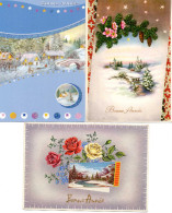 BONNE ANNEE - Paysage De Neige, Villages, Fleurs - Neujahr
