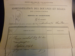 Administration Des Douanes De L'Indochine Cochinchine 4/06/1888 - Historical Documents
