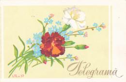 #BV3558 TELEGRAM, FLOWERS, LTL X 57, 1969, ROMANIA. - Télégraphes