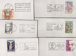 SAVERNE Bas Rhin Alsace. 6 FLAMMES DIFFERENTES Sur 6 Enveloppes. - Postmark Collection (Covers)