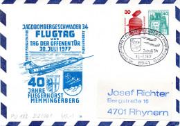 """BRD Privatganzsachenumschlag Bundeswehr """"JAGDBOMBERGESCHWADER 34 - FLUGTAG"""" SSt 30.7.77 MEMMINERGERG - Buste Private - Usati"""