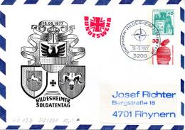 """BRD Privatganzsachenumschlag Bundeswehr """"HILDESHEIMER SOLDATENTAG"""" SSt 15.5.77 HILDESHEIM - Buste Private - Usati"""