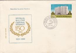 50086- BUCHAREST CENTRAL MILITARY HOSPITAL, MEDICINE, COVER FDC, 1981, ROMANIA - Medicine