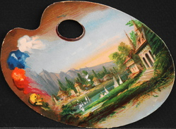 CHROMO DECOUPI Légérement Gauffré - En Forme De Palette De Peintre - Très Bon Etat - - Découpis