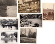 Lot De 7 Photos Originales Bateaux, Barques Et Canoës - Dans Les Rapides En Action, Vers 1920/30 - Ardèche - Barche