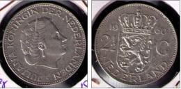 HOLANDA 1960 - 2,50 GULDEN DE PLATA (SILVER) KM # 185 - 1948-1980 : Juliana