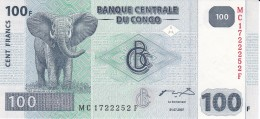 BILLETE DE EL CONGO DE 100 FRANCOS DEL AÑO 2007 NUEVO-SIN CIRCULAR (BANKNOTE) ELEFANTE-ELEPHANT - Zonder Classificatie