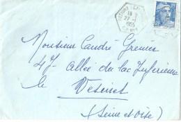3573 POTIGNY (Calvados) CP N° 1  15 F Gandon Bleu Yv 8861 Ob Hexagone Pointillé Poste Auto Rurale 27 1 1955 Lautier G6 - Postmark Collection (Covers)