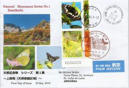 PAPILLONS Du JAPON 2016, Oblitérations Spéciales KOBÉ, Adressée ANDORRA, Avec Timbre à Date Arrivée - Butterflies