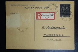 Postcard Generalgouvernement  Registered Warschau Polish Card Overprinted Mi P 3
