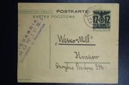 Postkarte Generalgouvernement  P6 I 40mm , 1940 Radomsko To  Krakau, Cut At Left