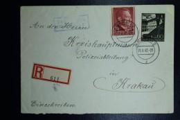 Generalgouvernement Einschreiben Brief  Local Krakau Krakow Blue Box TEL--CK UBER KRAKAU