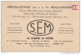 90) La Planche Le Prêtre (Territoire De Belfort)  Boulonnerie - S.E.M. - France