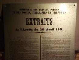 """ANCIENNE PLAQUE""""  EXTRAITS De L'arrêté Du 30 Avril 1951 """" ALU-METAL CATU 35cm X 50cm - Other Collections"""